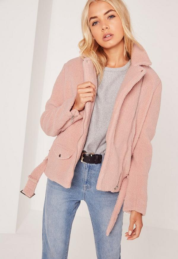 Faux Shearling Biker Jacket Pink | Missguided