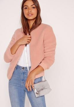 Pink Faux Shearling Bomber Jacket