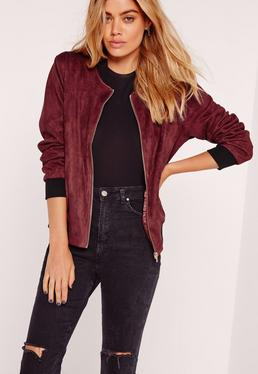 Contrast Rib Faux Suede Bomber Jacket Burgundy