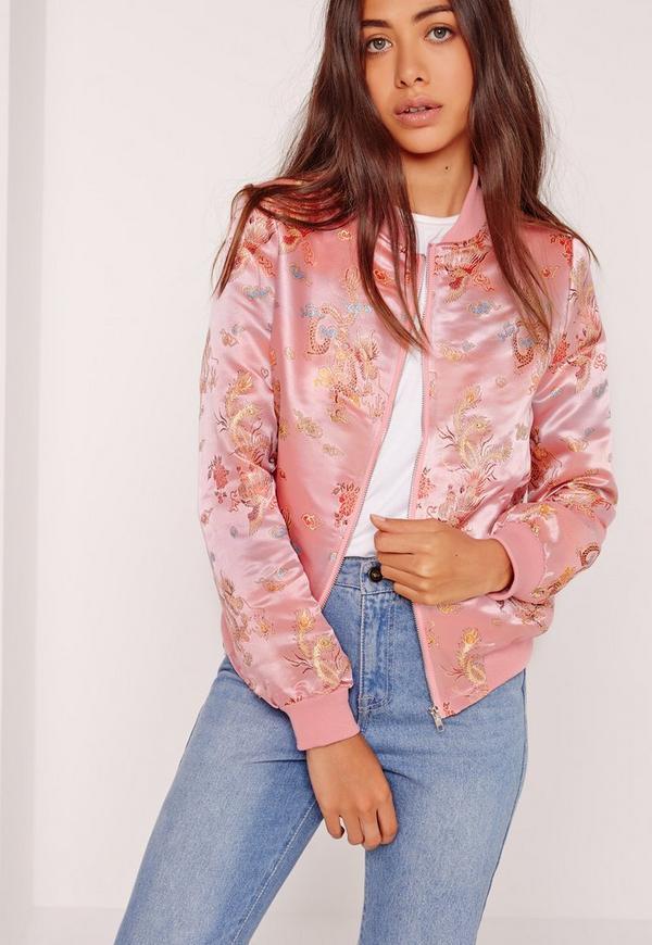 Oriental Embriodered Pink Bomber Jacket Pink