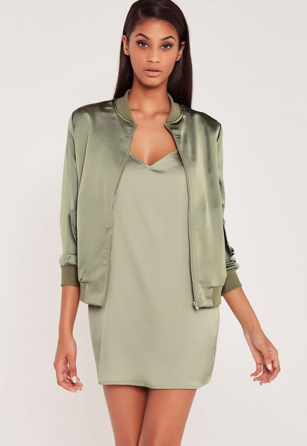 Carli Bybel Satin Bomber Jacket Green