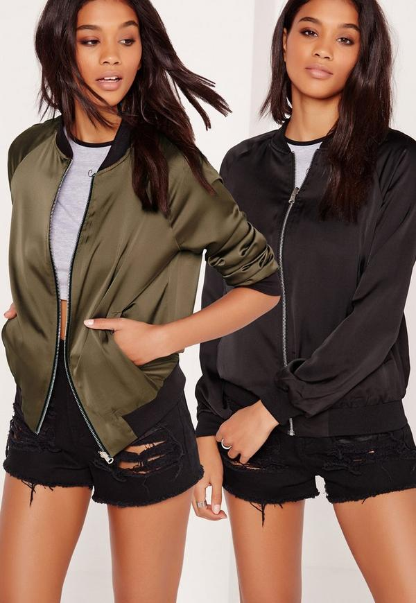 Reversible Satin Bomber Jacket Khaki