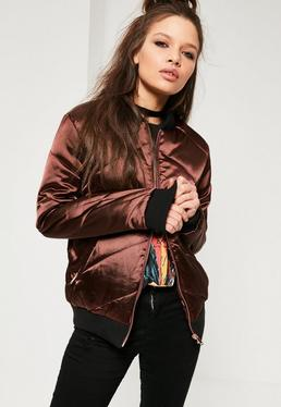 Brown Satin Quilted Bomber Jacket