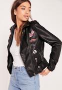 Badge Faux Leather Biker Jacket Black