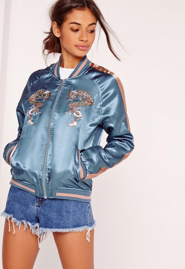 Dragon Embroidered Bomber Jacket Blue