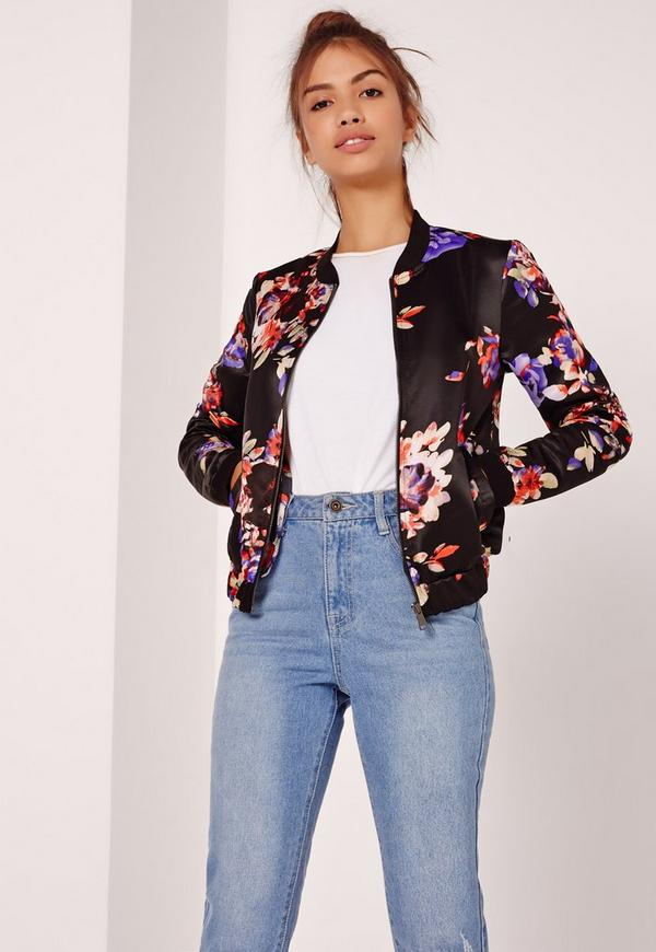 Floral Printed Satin Bomber Jacket Black