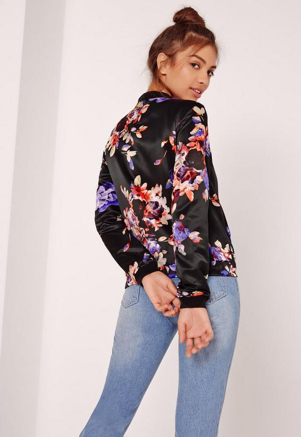 Floral Printed Satin Bomber Jacket Black | Missguided