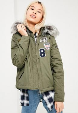 Badge Parka Jacket Khaki