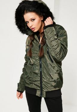 Ruched Parka Jacket Khaki