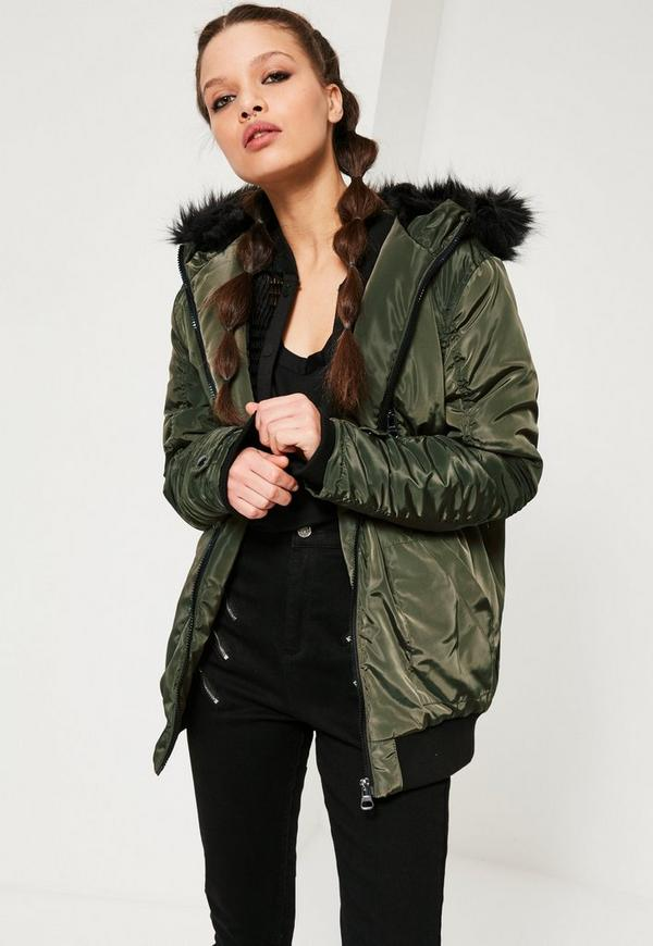 Ruched Parka Jacket Khaki | Missguided