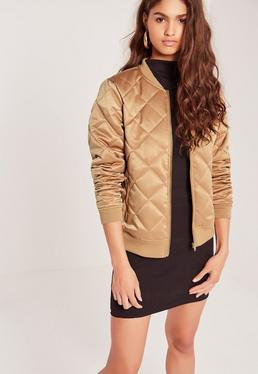 Quilted Satin Bomber Jacket Gold