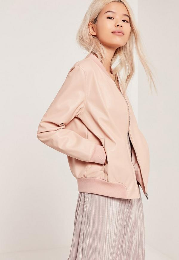 Faux Leather Bomber Jacket Nude