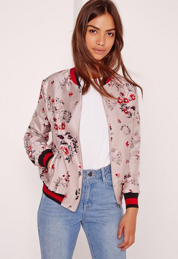 Premium Jacquard Bomber Jacket Pink