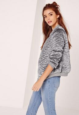 Faux Wool Bomber Jacket Grey