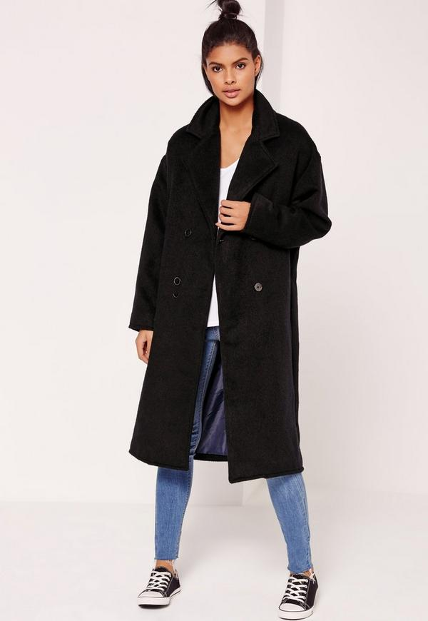 Cocoon Double Breasted Faux Wool Coat Navy