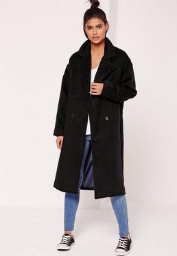 Zweireihiger Kokon-Mantel aus Fake-Wolle in Schwarz