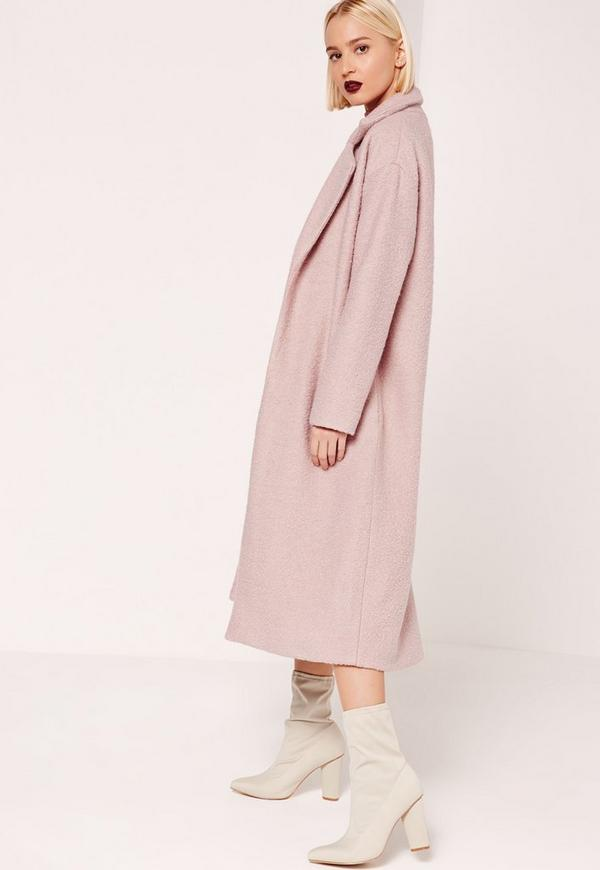 Tailored Textured Maxi Faux Wool Coat Pink