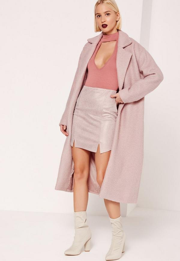 Tailored Textured Maxi Faux Wool Coat Pink - Missguided