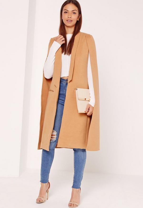 Faux Wool Cape Coat Camel