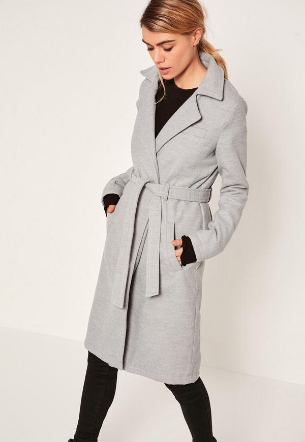 Grey Belted Tailored Faux Wool Coat