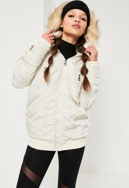 Ruched Parka Jacket Cream