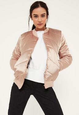 Satin Quilted Bomber Jacket Nude