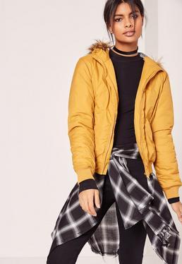 Faux Fur Hood Padded Bomber Jacket Yellow