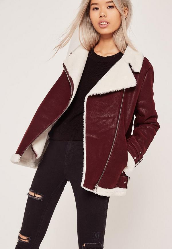 Faux Fur Lined Aviator Jacket Burgundy