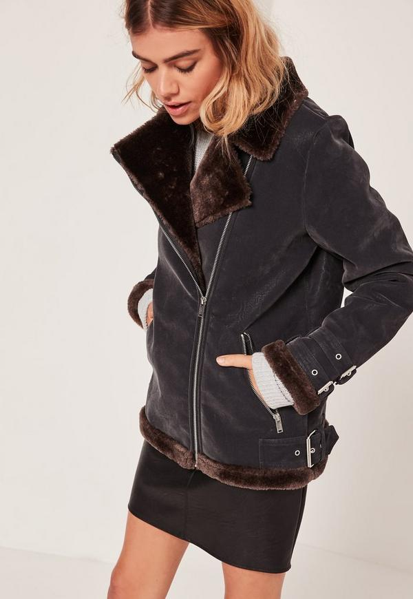 Black And Brown Faux Fur Lined Aviator Jacket