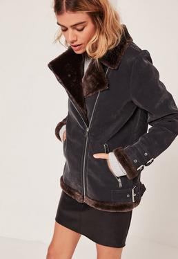 Faux Fur Lined Aviator Jacket Black And Brown