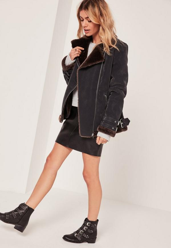 Black And Brown Faux Fur Lined Aviator Jacket | Missguided Australia