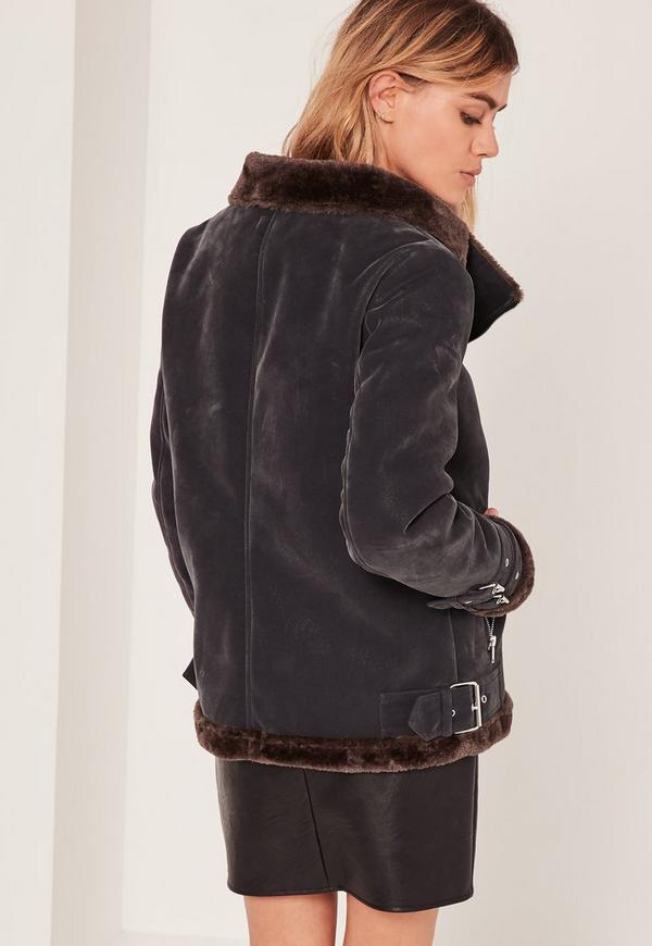 Fur Lined Pilot Jacket Black And Brown - Missguided