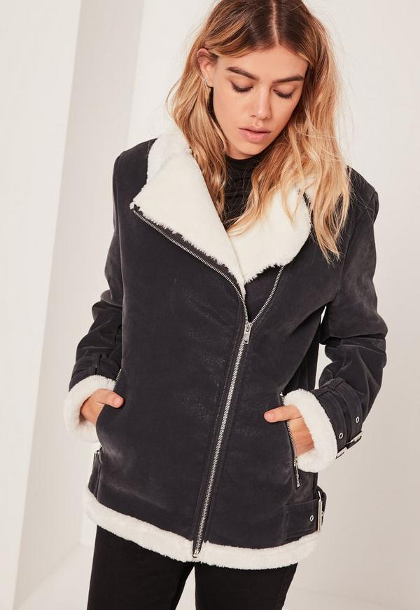 Fur Lined Pilot Jacket Black And Cream | Missguided