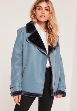 Faux Fur Lined Aviator Jacket Blue