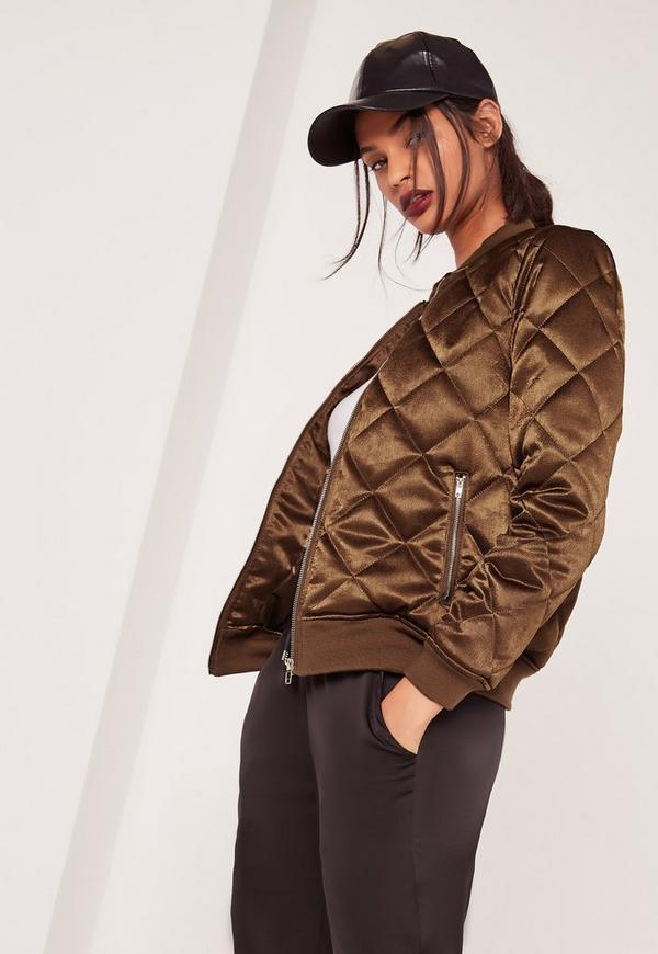 Quilted Satin Bomber Jacket Brown