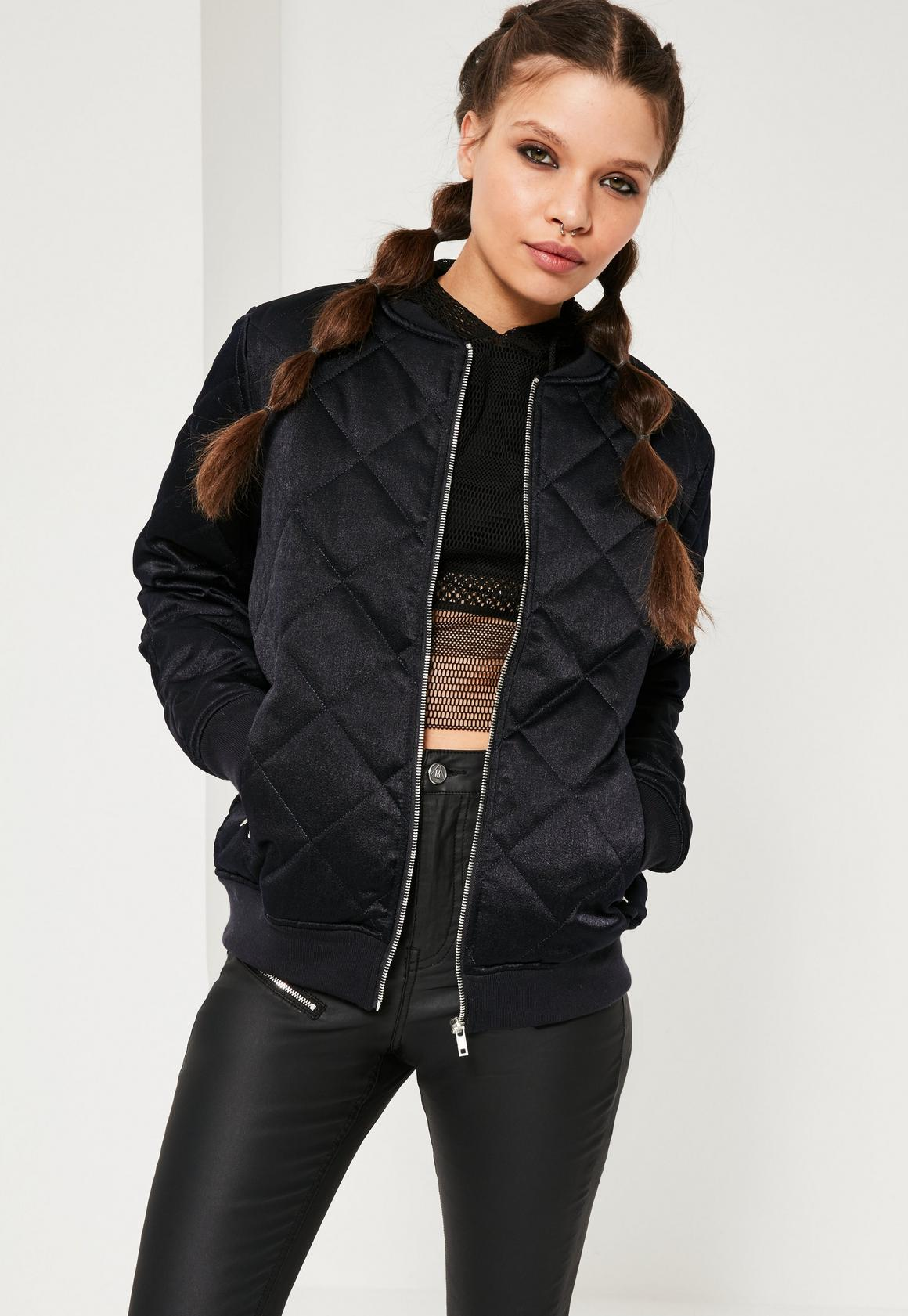 Quilted Satin Bomber Jacket Navy | Missguided