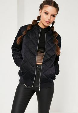 Quilted Satin Bomber Jacket Navy