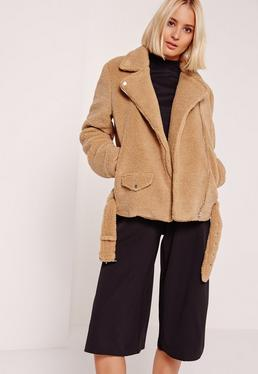 Faux Shearling Biker Jacket Brown