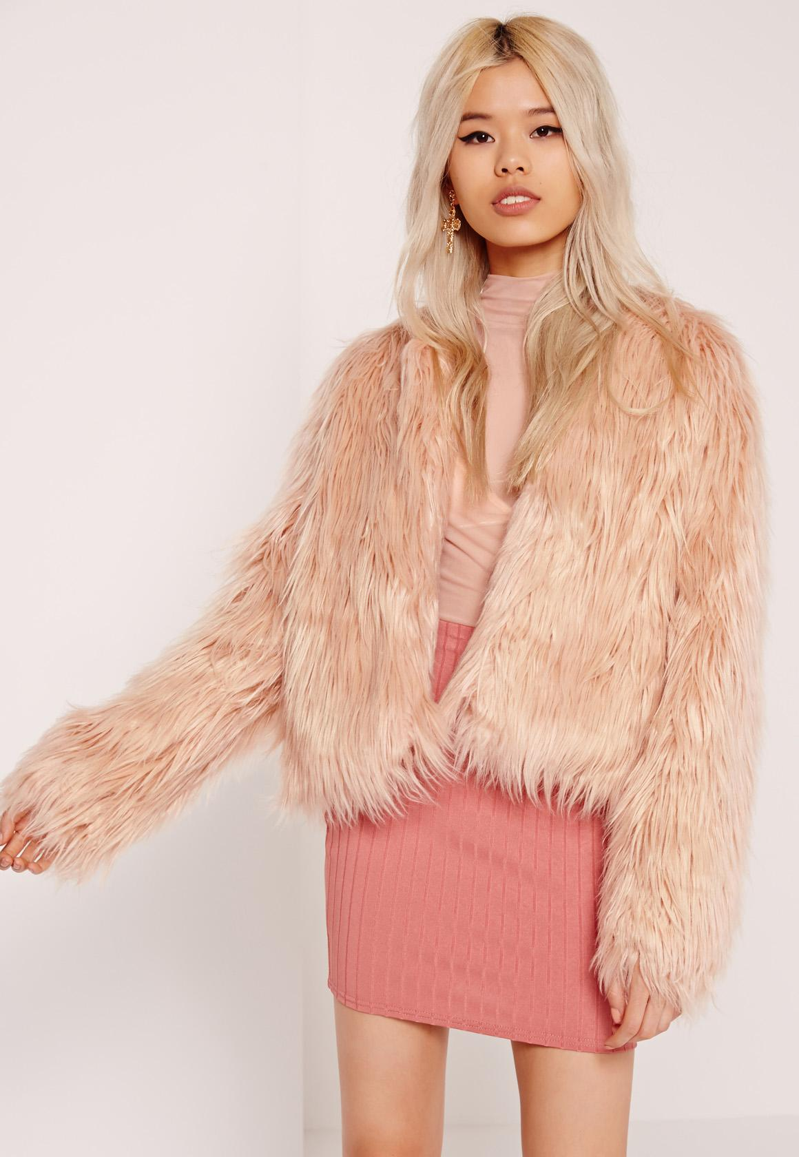 Shaggy Faux Fur Coat Pink | Missguided