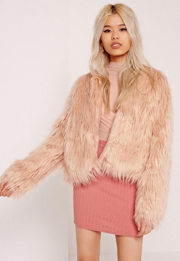 Shaggy Faux Fur Coat Pink