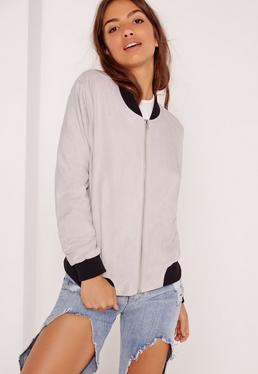 Contrast Rib Faux Suede Bomber Jacket Grey