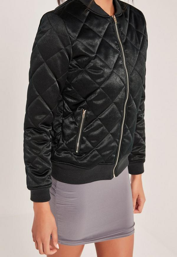 Quilted Satin Bomber Jacket Green | Missguided