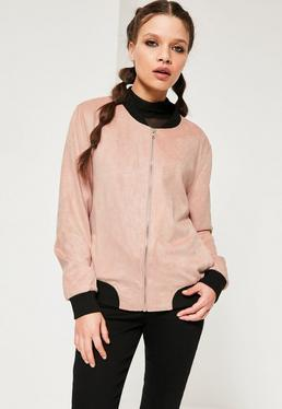Contrast Rib Faux Suede Bomber Jacket Pink