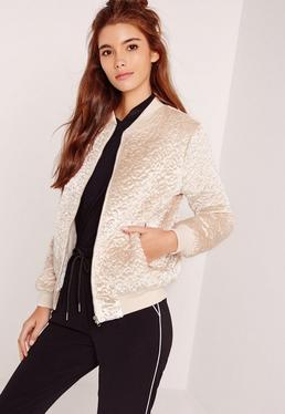 Faux Wool Bomber Jacket Cream