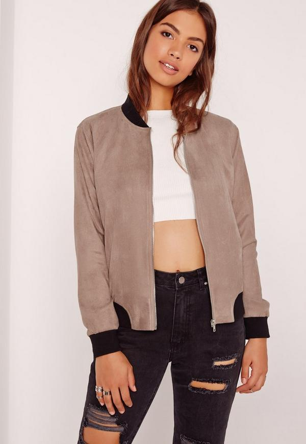 Contrast Rib Faux Suede Bomber Jacket Brown