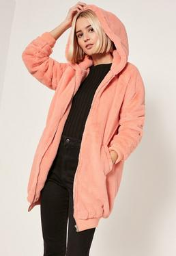 Peach Pink Hooded Faux Fur Bomber Jacket