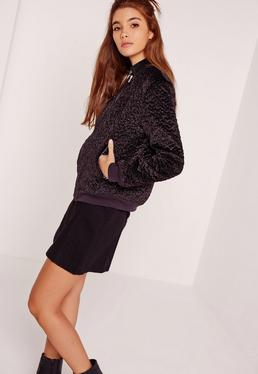 Faux Wool Bomber Jacket Purple