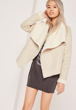 Faux Shearling Waterfall Jacket Nude