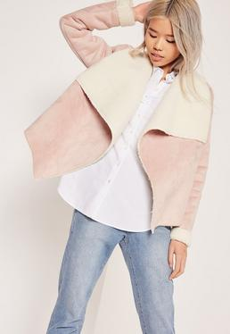 Faux Shearling Waterfall Jacket Pink