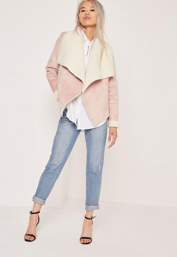 Faux Shearling Waterfall Jacket Pink | Missguided